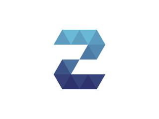 Fototapeta 2 Number  Blue Triangle Geometric Logo obraz