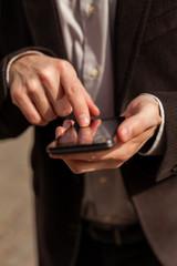 Man using new smart phone.