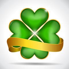 Clover leaf & gold ribbon