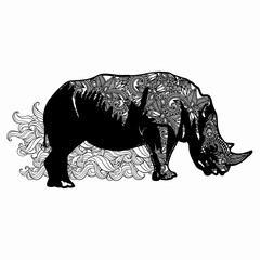 Hand drawn horned rhino for adult anti stress Coloring Page with high details isolated on white background, illustration in zentangle style. Vector monochrome sketch.