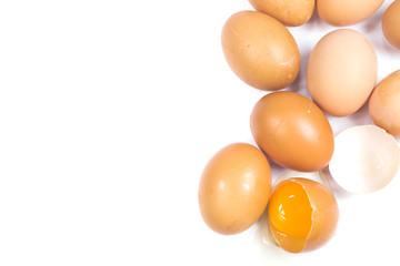 Cardboard egg box and many eggs