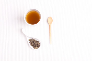 green tea on a white background