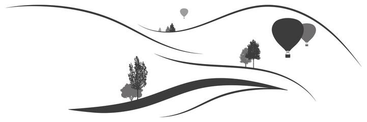 Panorama Berglandschaft mit Bäumen und Heißluftballons
