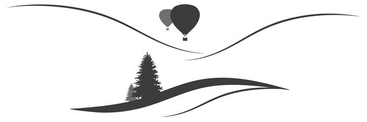Panorama Berglandschaft mit Heißluftballons
