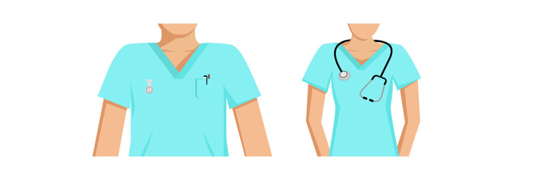 Vector image of a partial view of male and female medical staff