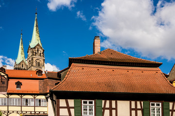 Wall Mural - Fackwerkhäuser in Bamberg mit Dom