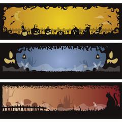Set of 3 Halloween banners