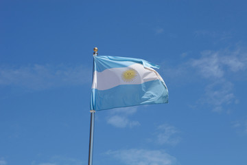 Argentina flag waving in the mast