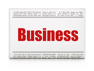 Finance concept: newspaper headline Business