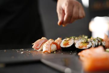 Fotorolgordijn Sushi bar Kuchnia japońska, sushi