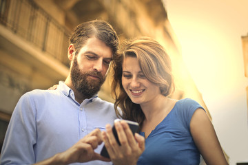 couple using a smartphone