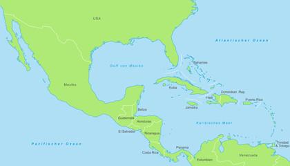 Mittelamerika - Karte in Grün