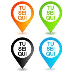 tu sei qui in 4 colori simbolo di geolocalizzazione