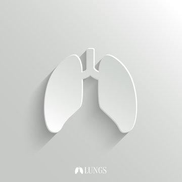 Lungs icon - vector white app button