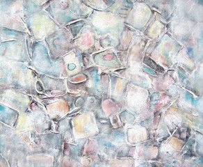 Art abstract painted background with white, light gray, brown and blue square shapes. Interior decor. Grunge background. Brush stroke texture units.Color light pastel shades.