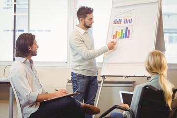 Smart businessman giving presentation