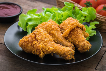 Crispy fried chicken on plate and dip sauce