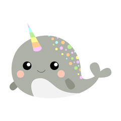 Cute gray narwhal