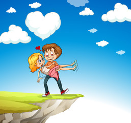 Man carrying woman on the cliff