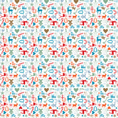 christmas wrapping paper - seamless pattern with christmas icons