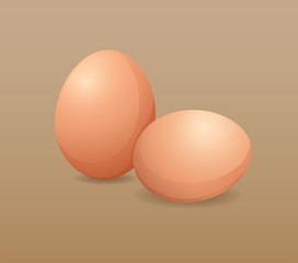 Two fresh eggs on brown background
