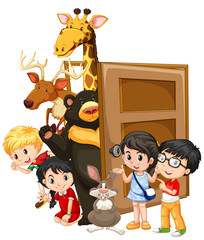 Children and wild animals behind the door