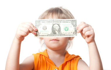 A child with a dollar bill