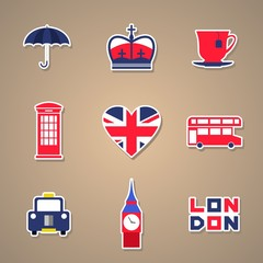 London Icons set Stickers. Vector illustration.
