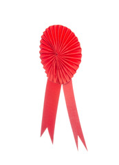 Red fabric award ribbon isolated on white background