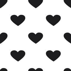 Black and white heart seamless pattern