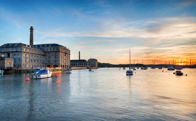 Fototapete - Sunset at the Royal William Yard in Plymouth