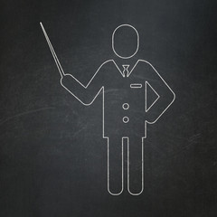 Learning concept: Teacher on chalkboard background