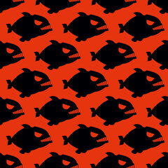 Aggressive seamless pattern from Piranha. Fish silhouettes with