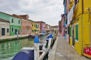 Colorful buildings in the village of Burano in the Venetian Laguna