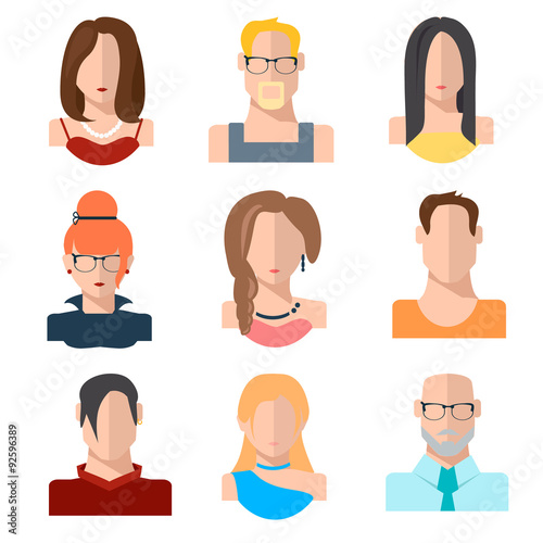set of people icons in flat style with faces women men character