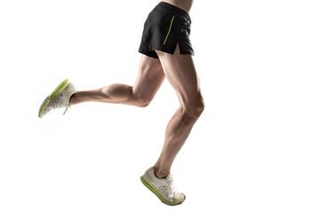 Running legs on white background