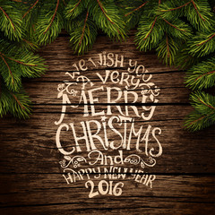 Christmas typography on wooden texture