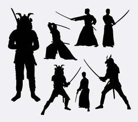 Samurai, male japanese warrior silhouettes. Good use for symbol, logo, web icon, mascot, or any design you want. Easy to use.
