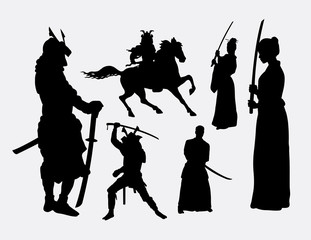 Samurai warrior male and female silhouettes. Good use for symbol, logo, web icon, mascot, or any design you want. Easy to use.