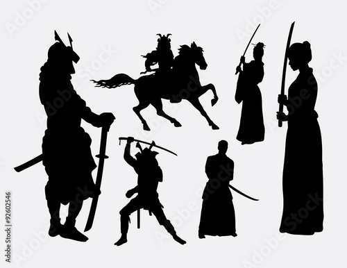 Samurai Warrior Male And Female Silhouettes Good Use For Symbol