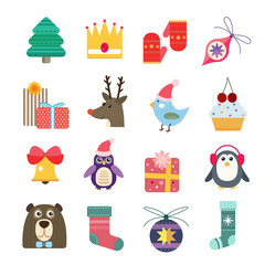 Printed roller blinds Illustrations Christmas vector icons set