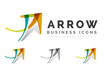 Set of arrow logo business icons