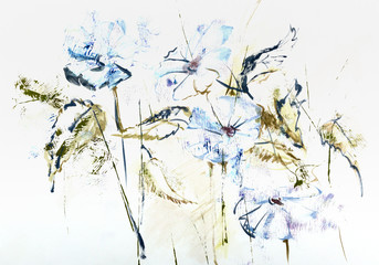 Stylized hand drawn watercolor Cichorium flowers in impressionis