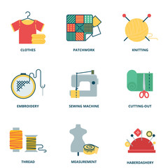 Sewing vector icons set, flat style