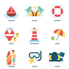 Sea and summer vector icons set, flat style