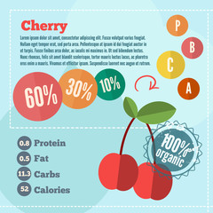 Infographics cherry and vitamins in a flat style. Vector illustration. EPS 10