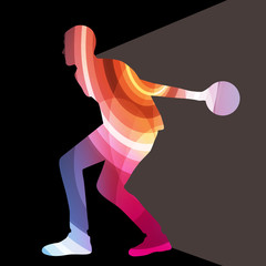 Man bowler bowling silhouette illustration vector background col