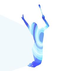 Modern rhythmic gymnastics young woman with clubs in acrobatics