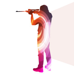 Man shooting sport hunting silhouette illustration vector backgr