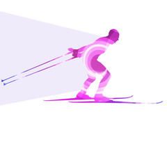 Skiing man silhouette illustration vector background colorful co